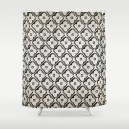 Moroccan Boho Black & White Pattern Shower Curtain