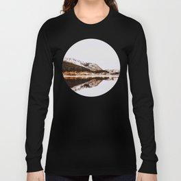 Mid Century Modern Round Circle Photo Graphic Design Reflective Mountain Lake Autumn Forest Long Sleeve T-shirt