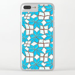 Spanish Tile Design In White And Turquoise Clear iPhone Case