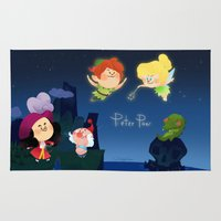 peter pan Area & Throw Rugs featuring Peter Pan by UniverseSunny