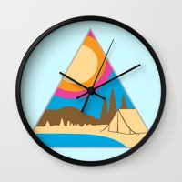 camping Wall Clocks featuring Camping by Wendy Ding: Illustration