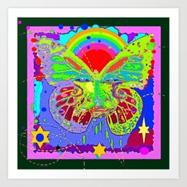 Lime Green Butterfly Face Rainbow for Kids Art Print