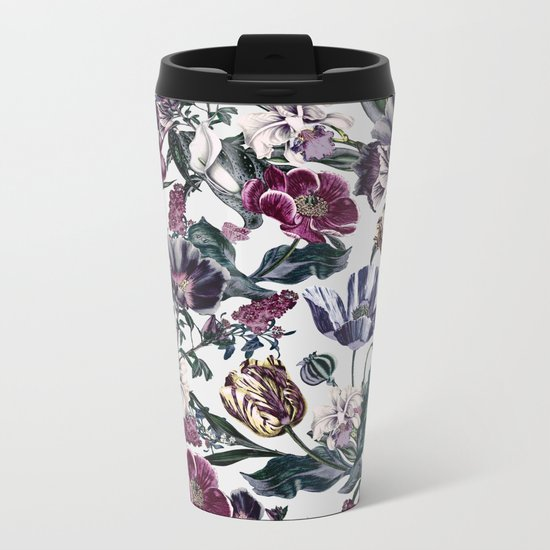 Fractal Floral Metal Travel Mug
