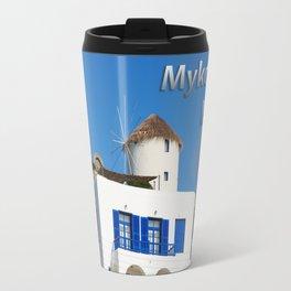 House and Windmill - Mykonos Island Greece Travel Mug