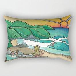 Surf Family Beach Lovers Art by Lauren Tannehill Art Rectangular Pillow