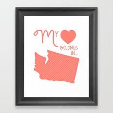 My Heart Belongs in Washington Framed Art Print