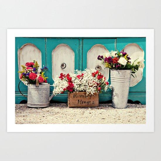 Vintage + Flowers  Art Print