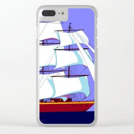 A Clipper Ship Full Sail in Still Waters Clear iPhone Case