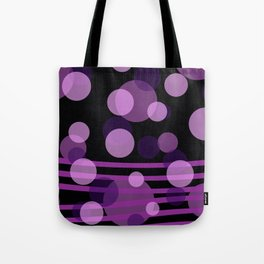 Wave dots lines black background pattern Tote Bag