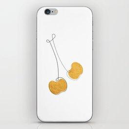 Les Cerises - Gold Cherry Line Art iPhone Skin