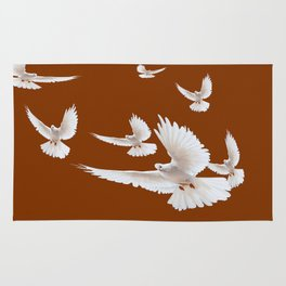 Flock of Snow White Doves in Coffee-Brown Colored Sky Rug