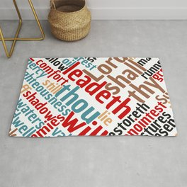 Christian Psalm 23 Colorful Word Art Rug