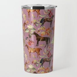 HORSES & AUTUMN LEAVES - Dusty Plum  Travel Mug