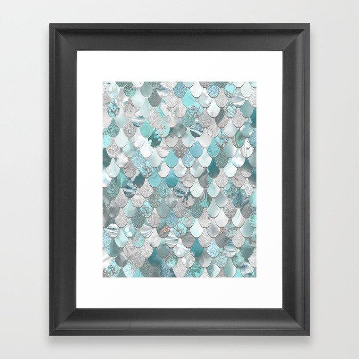 Mermaid Aqua and Grey Gerahmter Kunstdruck