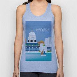 Madison, Wisconsin - Skyline Illustration by Loose Petals Unisex Tank Top