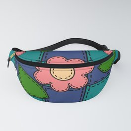 Retro Doodle Flower Style Quilt - Dark Blue and Green Fanny Pack