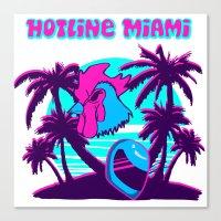 hotline miami Canvas Prints featuring Hotline Miami  by noxioussomnium