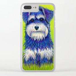 Colorful Miniature Schnauzer Dog Pet Portrait Clear iPhone Case