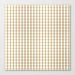 Christmas Gold Large Gingham Check Plaid Pattern Canvas Print