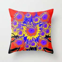 Purple Sunflowers Graphic in Red & Black Throw Pillow
