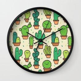Cute Happy Cactus Cacti Pattern Wall Clock