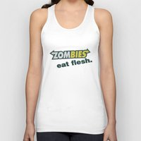 in the flesh Tank Tops featuring Zombie Eat flesh by Wood-n-Images