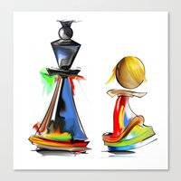 chess Canvas Prints featuring chess by tatiana-teni