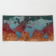 world map mandala vintage Beach Towel