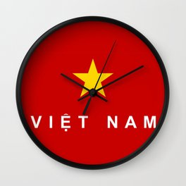 vietnam country flag viet nam name text Wall Clock