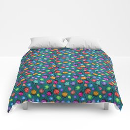 Rosebuds pattern on blue Comforters