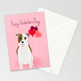Pitbull love hearts dog balloon valentines day pitbulls must have pibble art white and brown Stationery Cards
