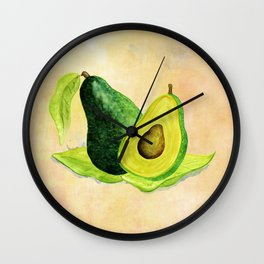 Green Avocado in Watercolor Wall Clock