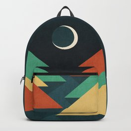 Quiet stream under crescent moon Backpack