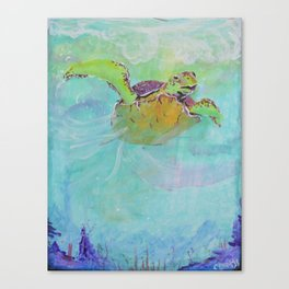 Painterly Sea Turtle Swimming in Turquoise water Canvas Print