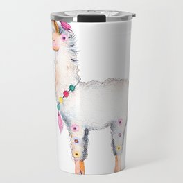 Cute Lama With Floral Accents Travel Mug