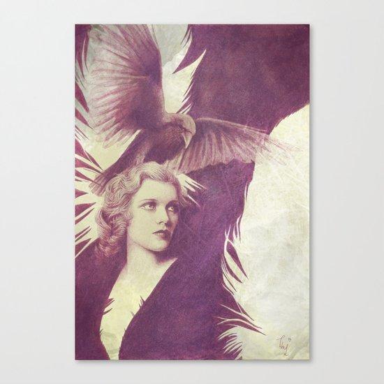 Purple vintage girl with raven Canvas Print