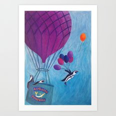 Airborne Penguins Art Print