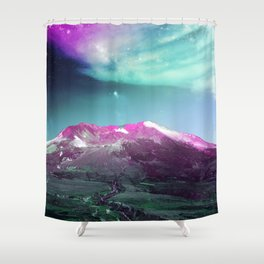 Space Mountain Vaporwaves Scene Over Washington Shower Curtain