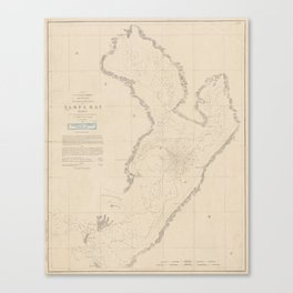 Vintage Map of Tampa Bay FL (1855) Canvas Print