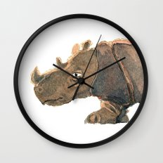 Thinking Rhinoceros Wall Clock
