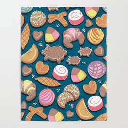 Mexican Sweet Bakery Frenzy // turquoise background // pastel colors pan dulce Poster