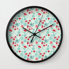 Floral owls Wall Clock
