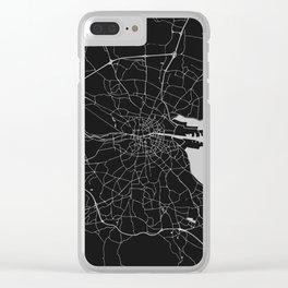 Black on Light Gray Dublin Street Map Clear iPhone Case