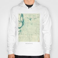 memphis Hoodies featuring Memphis Map Blue Vintage by City Art Posters