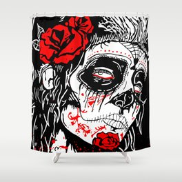 Girl With Sugar Skull, Day of the Dead Shower Curtain