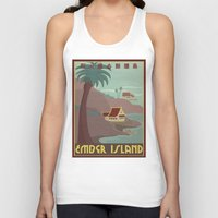 travel poster Tank Tops featuring Ember Island Travel Poster by HenryConradTaylor