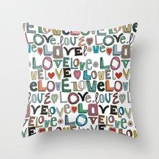 l o v e LOVE white Throw Pillow