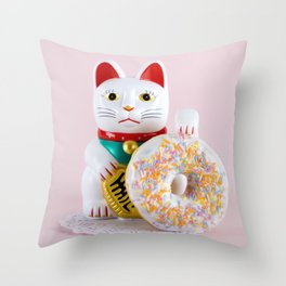Maneki Donut Throw Pillow