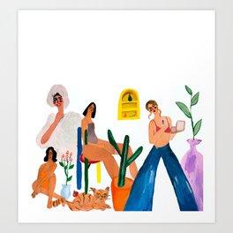 Girls with cat Art Print