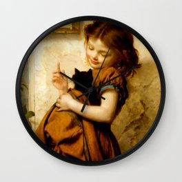 """Sophie Gengembre Anderson """"Her Favorite Pets"""" Wall Clock"""
